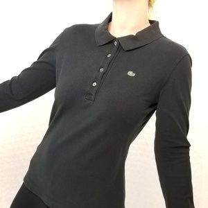 Lacoste black longsleeve polo shirt. Made in Franc